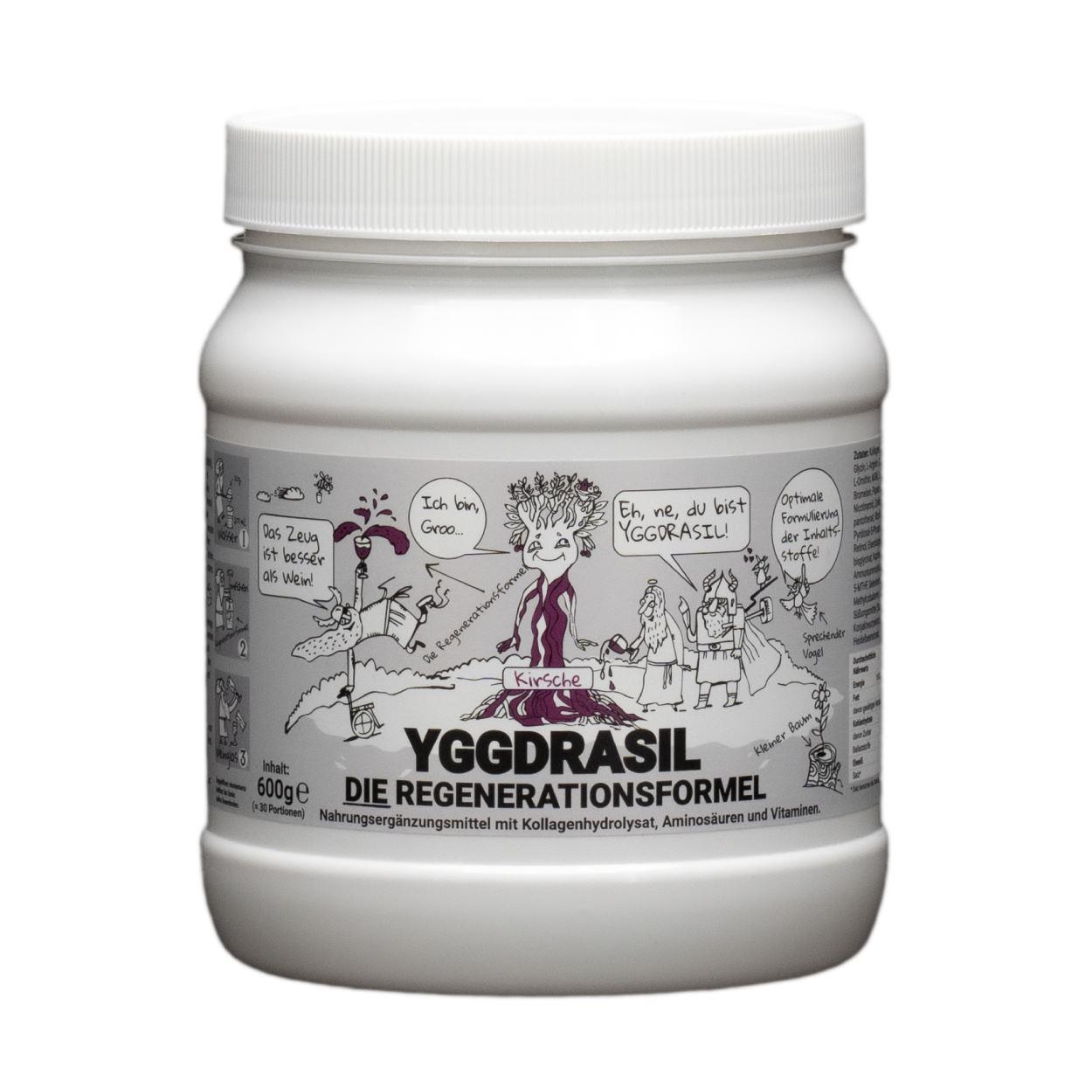 Yggdrasil DIE Regenerationsformel Produktbild Chris Eikelmeier Götterspeise Nahrungsergänzungsmittel_Kirsche